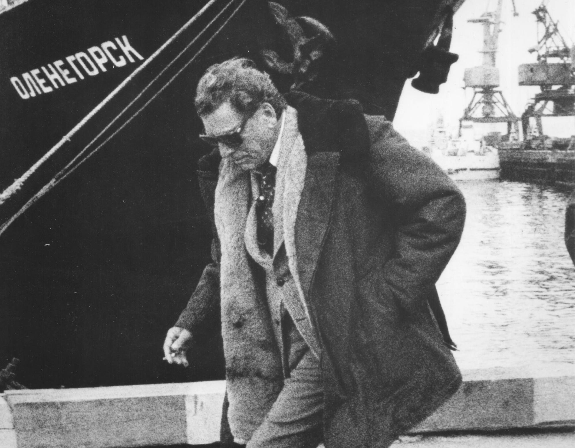 Burt Lancaster at the dock area at Murmansk...