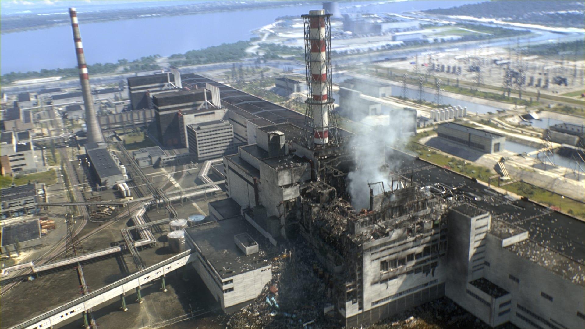 Экспонат #7. 4-й энергоблоке Чернобыльской АЭС после аварии