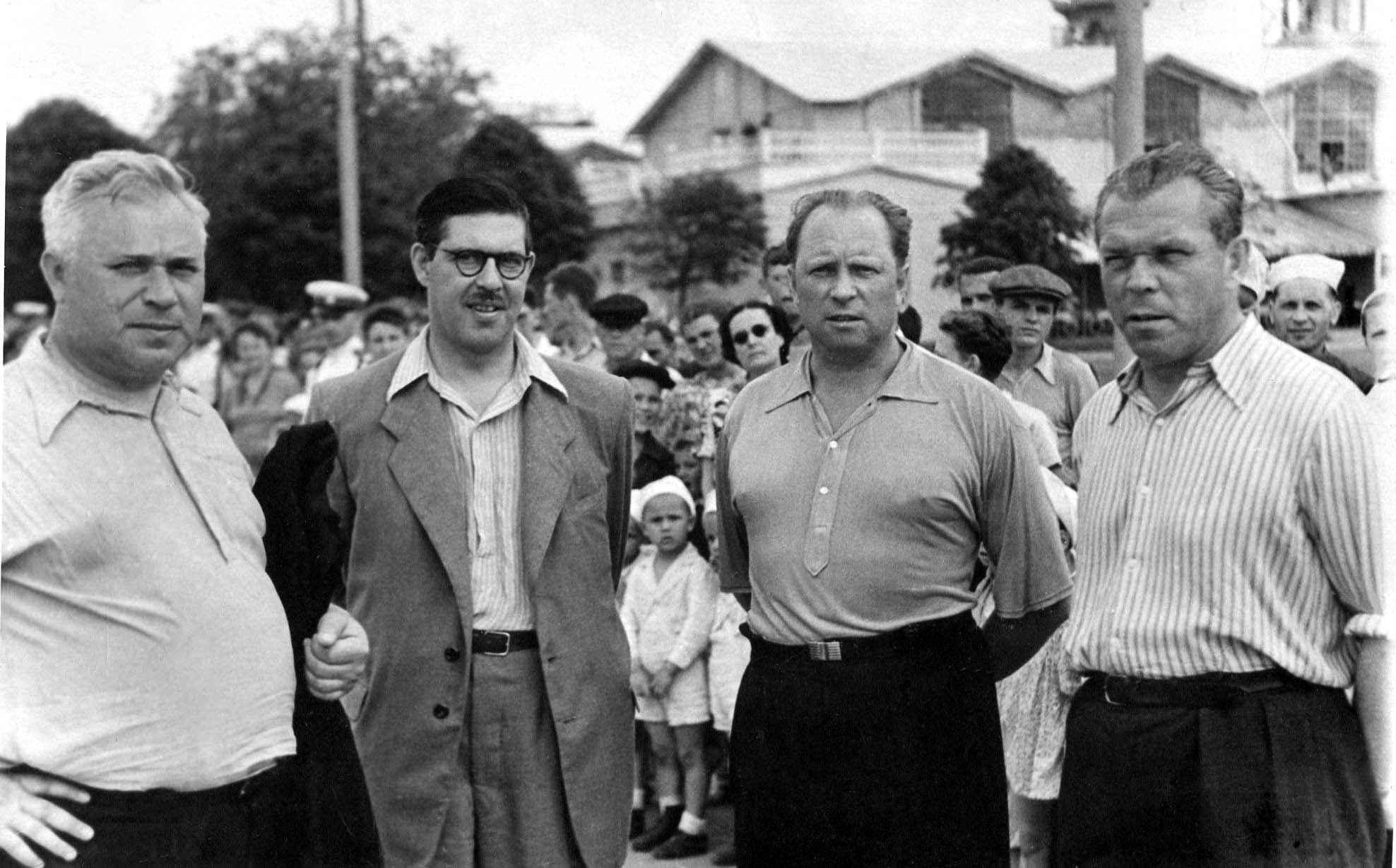 Экспонат #50. С А. Ешуриным, И. Проком и В. Федоровым. 1950 год