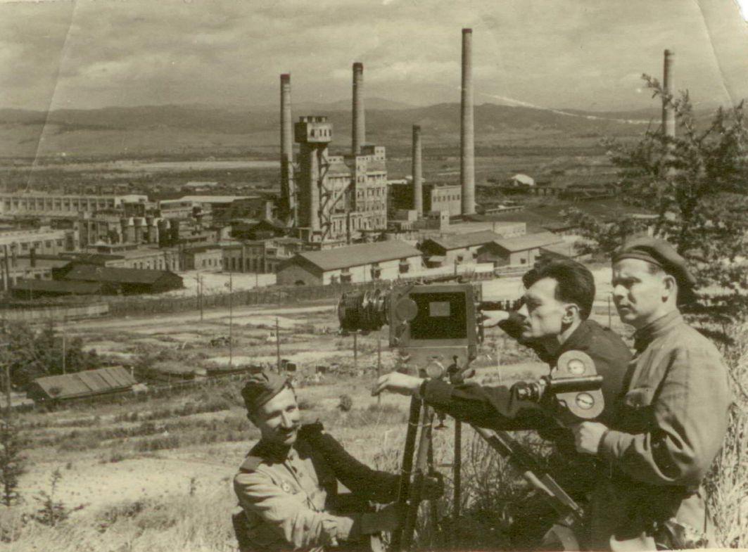 Кинооператоры Валентин Мирный и Александр Борзунин. Сахалин. 1948 год