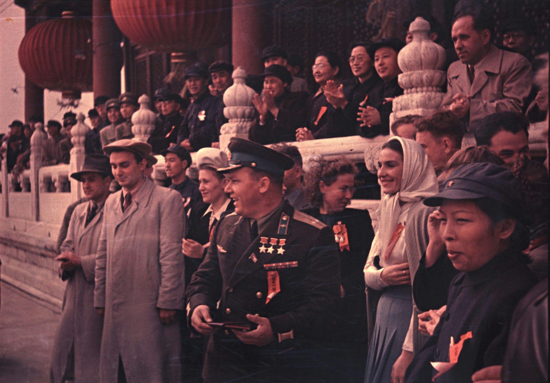 Экспонат #16. Трижды Герой Советского Союза Иван Кожедуб во время парада в Пекине. 1 октября 1949 года