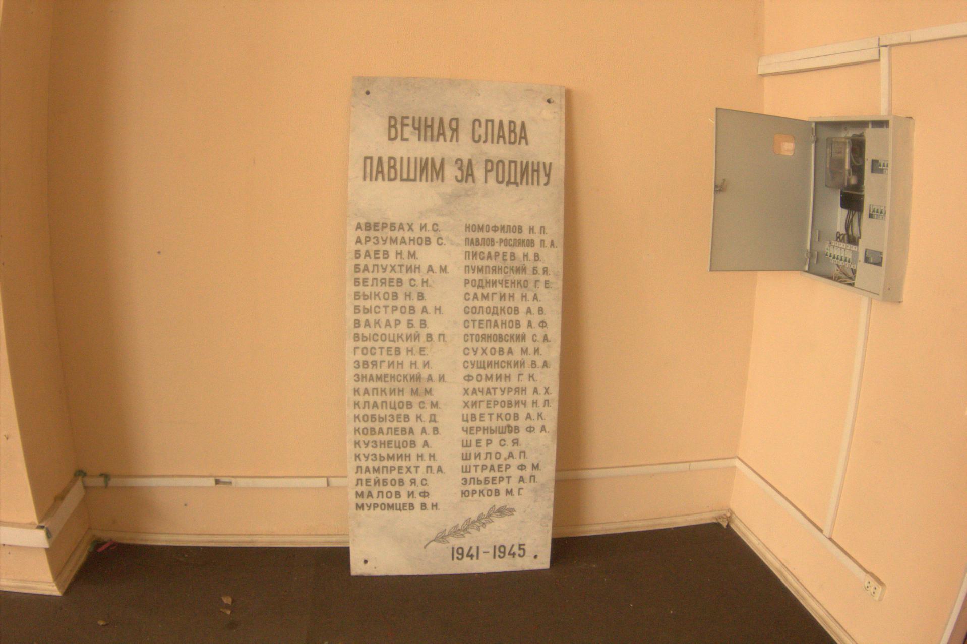 Мемориальная доска работникам-фронтовикам ЦСДФ